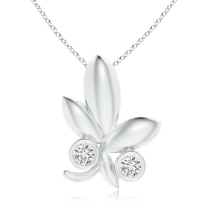 Angara Lotus Bud Inspired Bezel-Set Diamond Pendant U6ck93AfFi