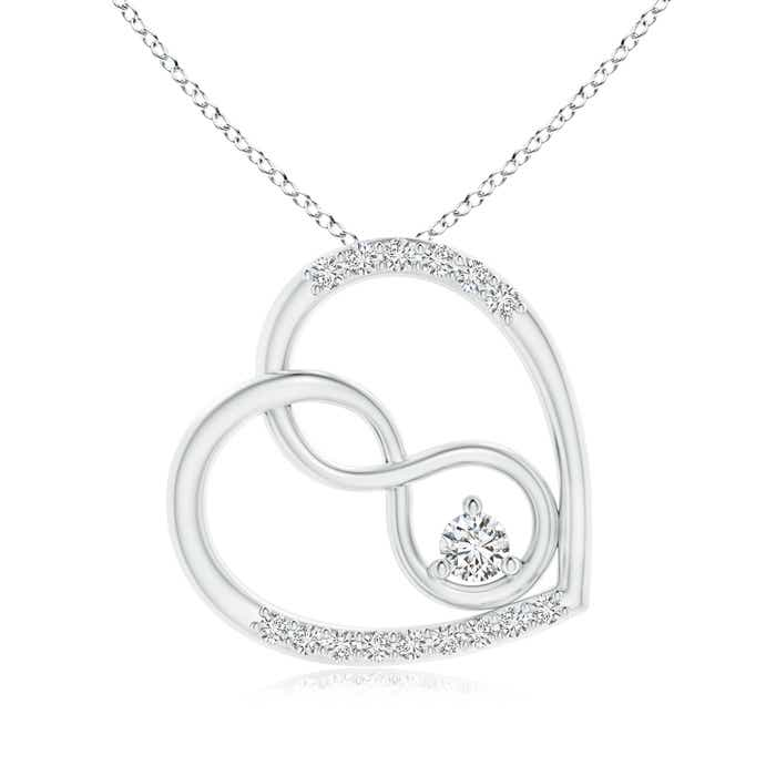 Angara Diamond Interlocking Heart Necklace 25Ejo9KggF