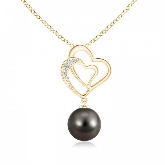 Angara Tahitian Cultured Pearl V-Bale Pendant with Diamond 90ivXdzaVG