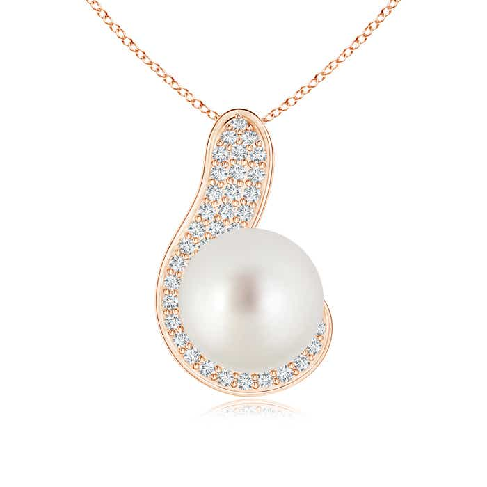 Angara Solitaire South Sea Cultured Pearl Pendant with Diamonds