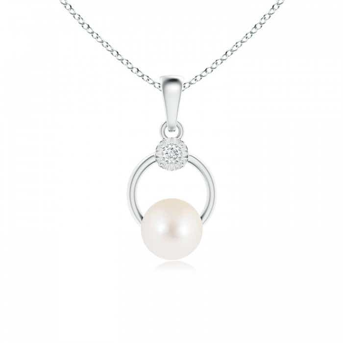 Angara Freshwater Cultured Pearl Lariat Style Necklace with Diamonds Yekrqo