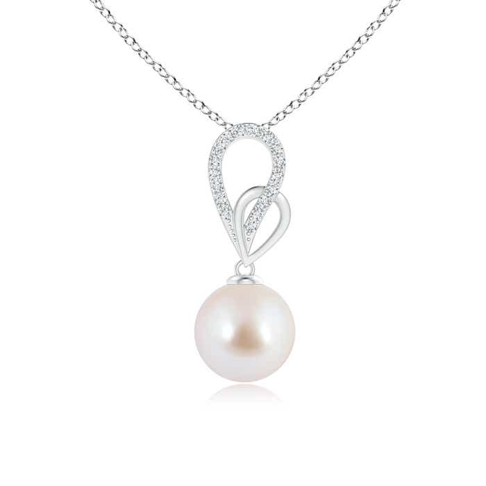 Angara Akoya Cultured Pearl Drop Pendant with Infinity Swirl As8HMv