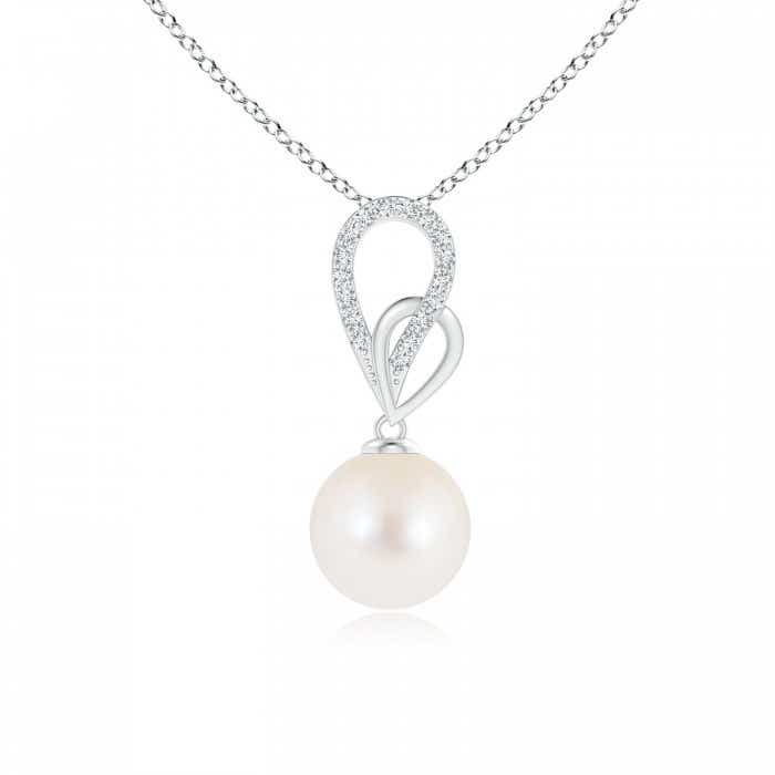 Angara Freshwater Cultured Pearl Pendant with Diamond Accents plOsA