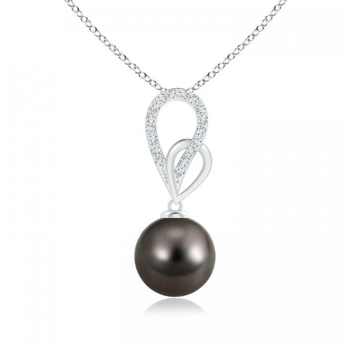 Angara Tahitian Cultured Pearl and Diamond Twisted Bale Pendant cUwvh5h7N