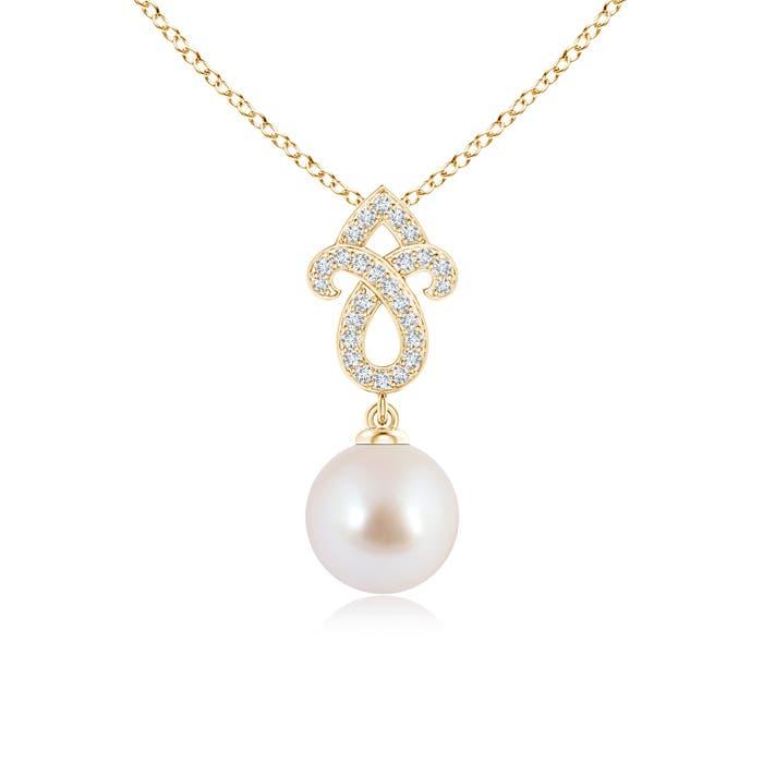 Angara Akoya Cultured Pearl Swirl Ribbon Pendant with Diamonds aVbLc