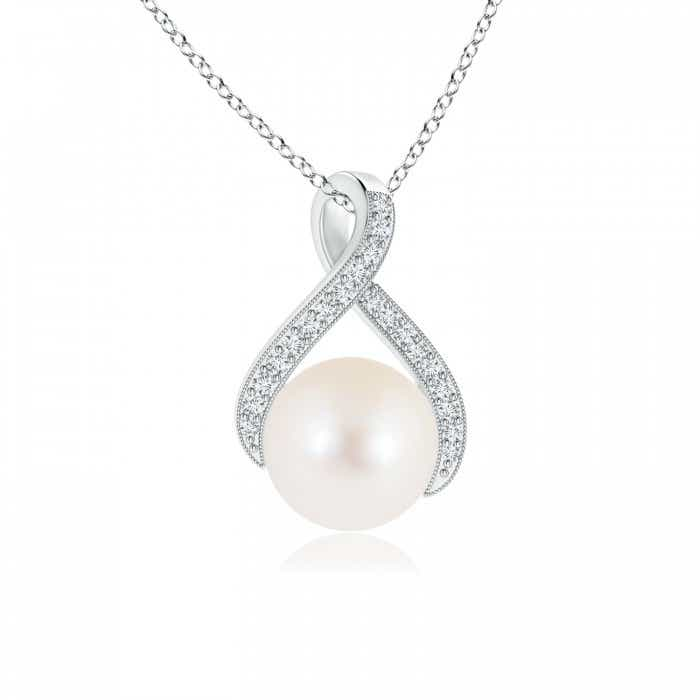 Angara South Sea Cultured Pearl Swirl Ribbon Pendant with Diamonds; Pearl Pendant & Pearl Necklace ppJ0U2K0YS