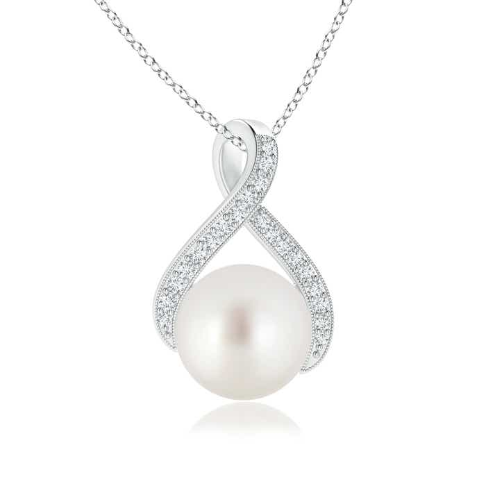 Angara South Sea Cultured Pearl Loop Pendant with Diamonds 8Jvv4