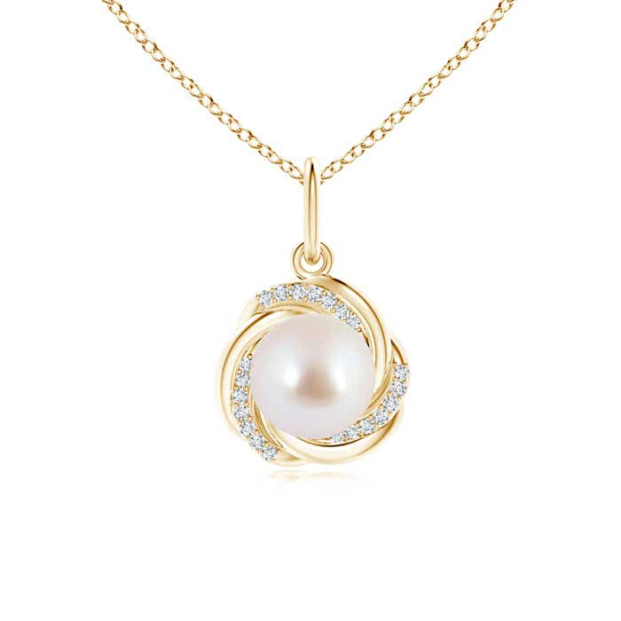 Angara Akoya Cultured Pearl Pendant with Braided Diamond Halo YmgrMR0DPT