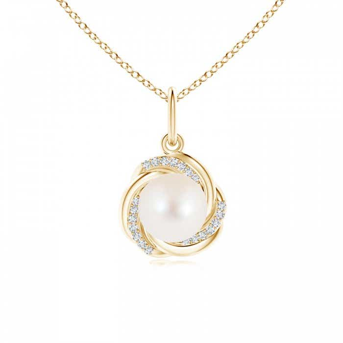 Angara Freshwater Cultured Pearl Overlapping Halo Pendant; Pearl Pendant & Pearl Necklace 5MhNwjQDDo