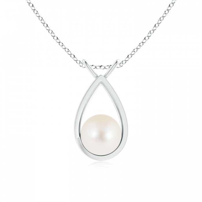Angara Solitaire Freshwater Cultured Pearl Pendant with Diamonds fYeNHq