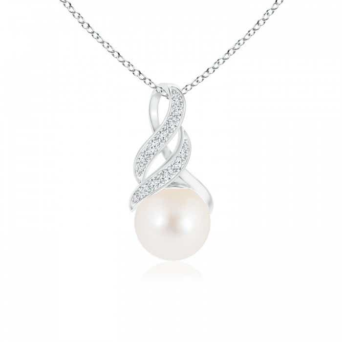 Angara Freshwater Cultured Pearl Pendant with Diamond Infinity Bale; Pearl Pendant & Pearl Necklace
