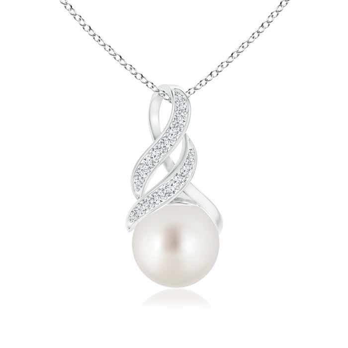 Angara South Sea Cultured Pearl Drop Pendant with Infinity Swirl soWO6qc2oD
