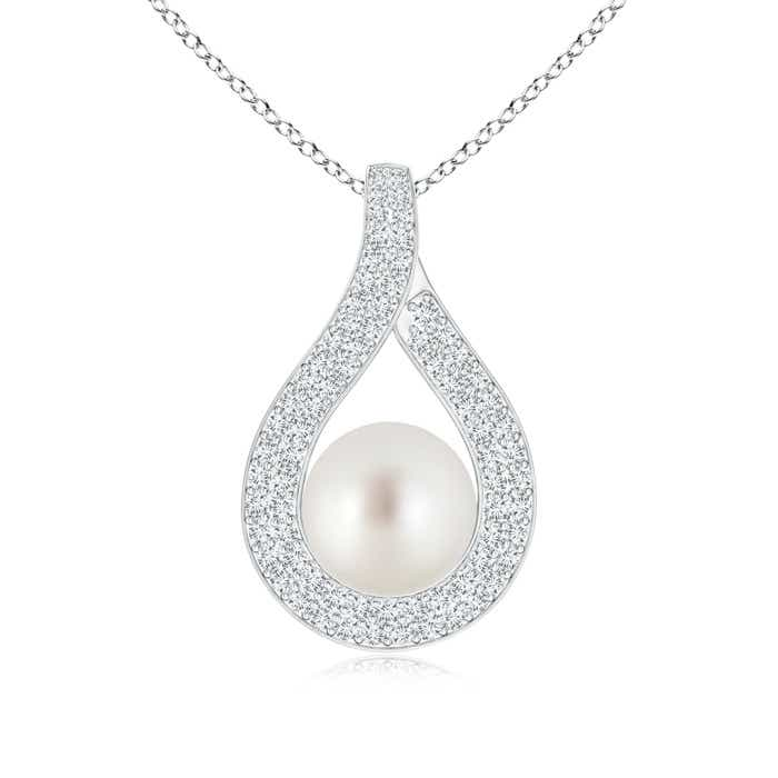 Angara South Sea Cultured Pearl Pendant with Diamond-Encrusted Loop; Pearl Pendant & Pearl Necklace