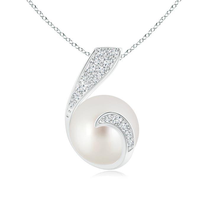 Angara South Sea Cultured Pearl Pendant with Diamond Twist Q36n1HRqD