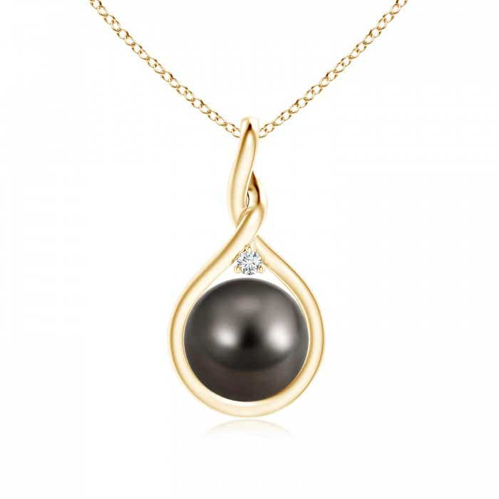 Angara Tahitian Cultured Pearl Wishbone Pendant with Diamond JJ3GH5