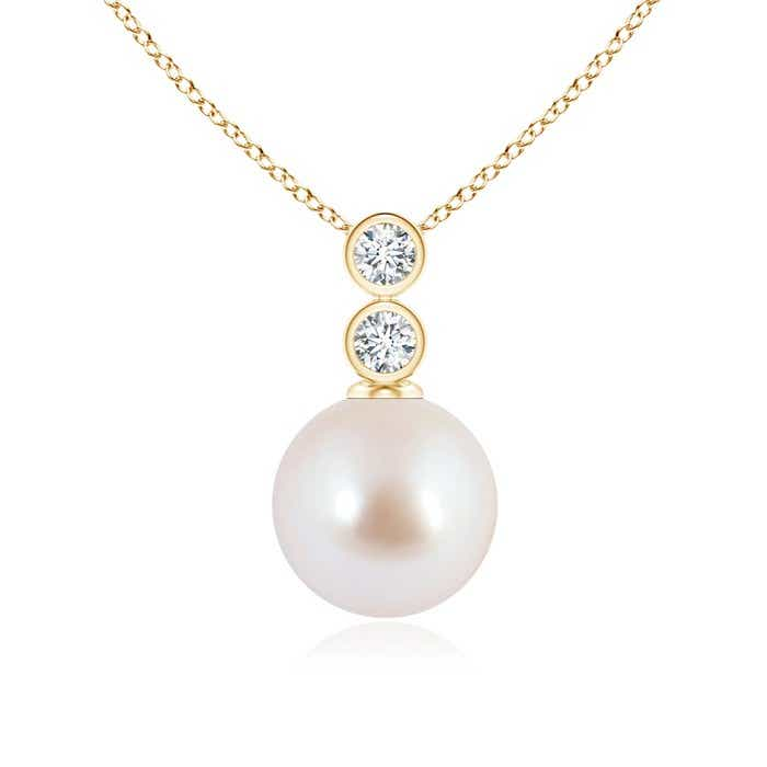 Angara Akoya Cultured Pearl Pendant with Bezel Diamonds; Pearl Pendant & Pearl Necklace 3zbqa
