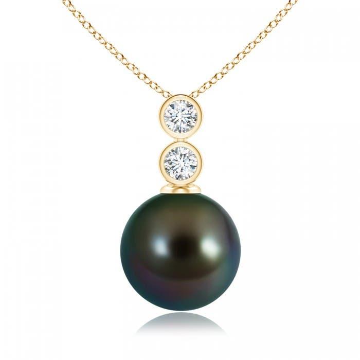 Angara Tahitian Cultured Pearl Pendant with Bezel Diamonds ULLxyhS
