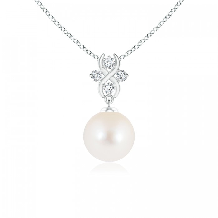 Angara Freshwater Cultured Pearl Pendant with Diamond Infinity Bale; Pearl Pendant & Pearl Necklace blXWYvwI