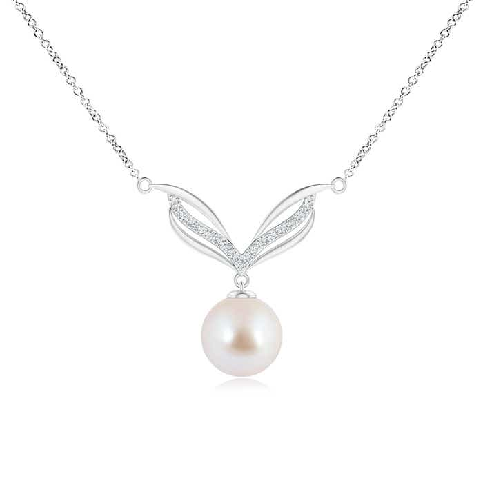 Angara Akoya Cultured Pearl Angel Wing Pendant with Diamonds; Pearl Pendant & Pearl Necklace ECQXo1