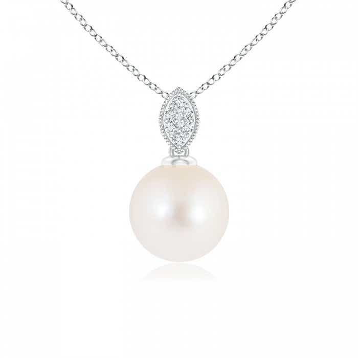 Angara Freshwater Cultured Pearl Drop Pendant with Ornate Bale