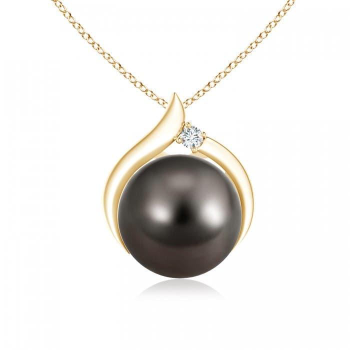 Angara Tahitian Cultured Pearl and Diamond Pendant uugZHWc
