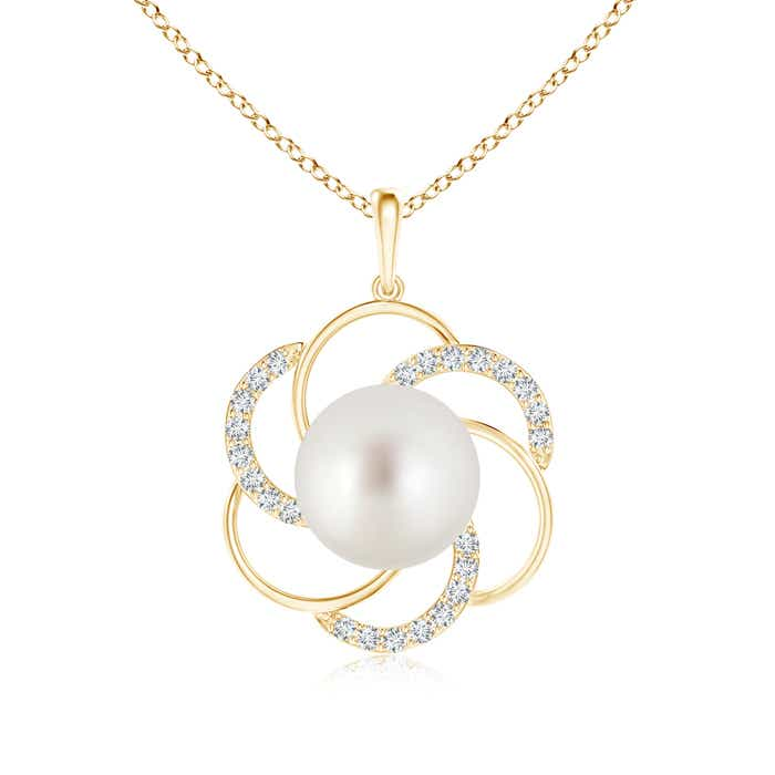 Angara South Sea Cultured Pearl and Diamond Flower Pendant 5DWcjOax8
