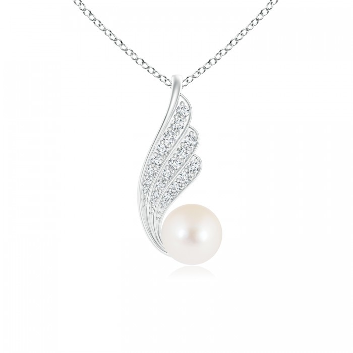 Angara Freshwater Cultured Pearl and Diamond Twist Pendant H3E8lqkc