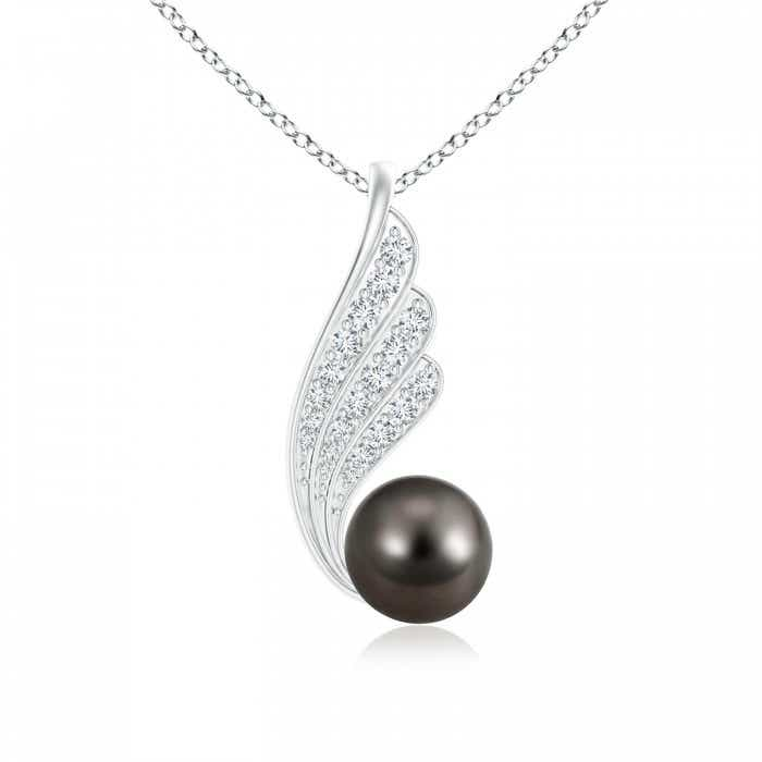 Angara Tahitian Cultured Pearl Solitaire Pendant with Diamond