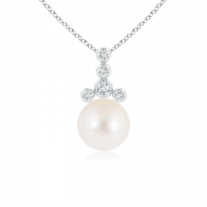 Angara Freshwater Cultured Pearl and Diamond Flower Pendant OygYdCeq