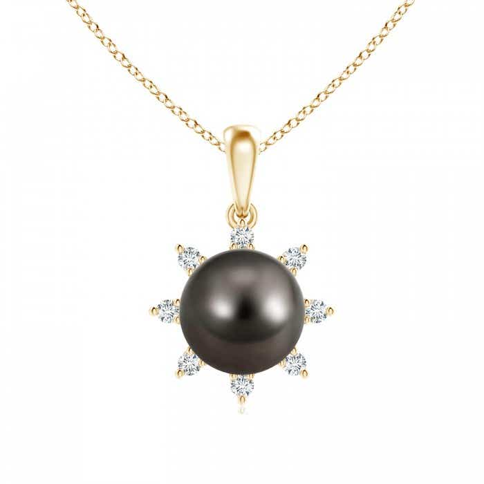 Angara Tahitian Cultured Pearl Solitaire Pendant with Diamond qQrrq
