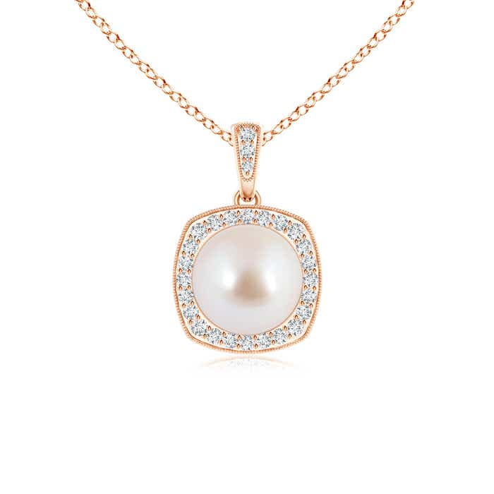 Angara Vintage Inspired Akoya Cultured Pearl Pendant 4pSC0Z5zE