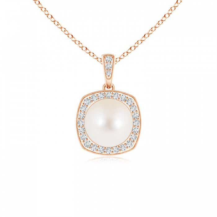 Angara Freshwater Cultured Pearl and Sapphire Halo Pendant
