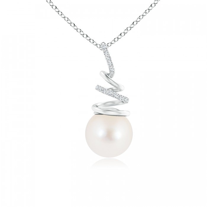 Angara Freshwater Cultured Pearl Spiral Pendant with Diamonds aCv6bno