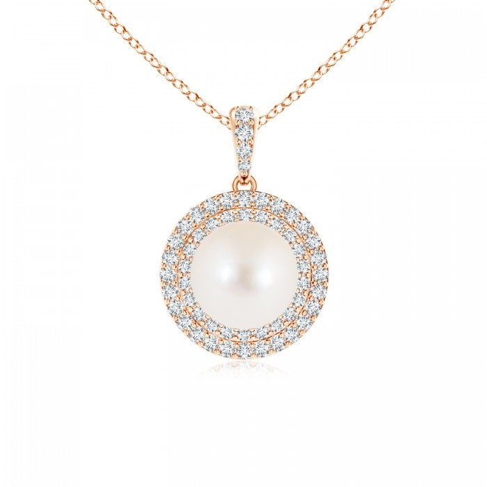 Angara Freshwater Cultured Pearl and Diamond Halo Pendant qfCKW9