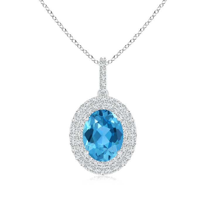 Angara Womens Swiss Blue Topaz Necklace in White Gold womb4jl