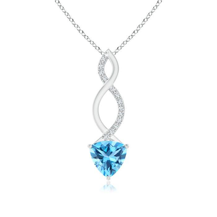 Angara Trillion Swiss Blue Topaz Solitaire Pendant with Diamond Swirl sC5A11OTj
