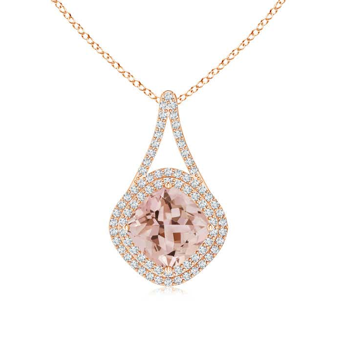 Angara Cushion Morganite Halo V-Bale Pendant with Diamonds ZlwLef