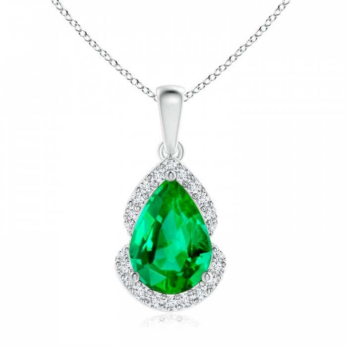 Angara Emerald Pendant - Pear-Shaped GIA Certified Emerald Pendant with Leaf Bale N165zio