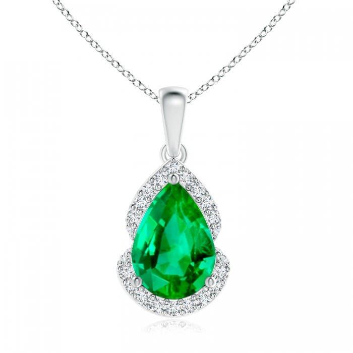 Angara GIA Certified Pear-Shaped Emerald Halo Pendant F3FLtkNms