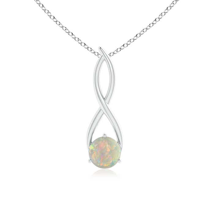 Angara Bypass Round Opal Angel Wing Necklace in Yellow Gold nPceUoq