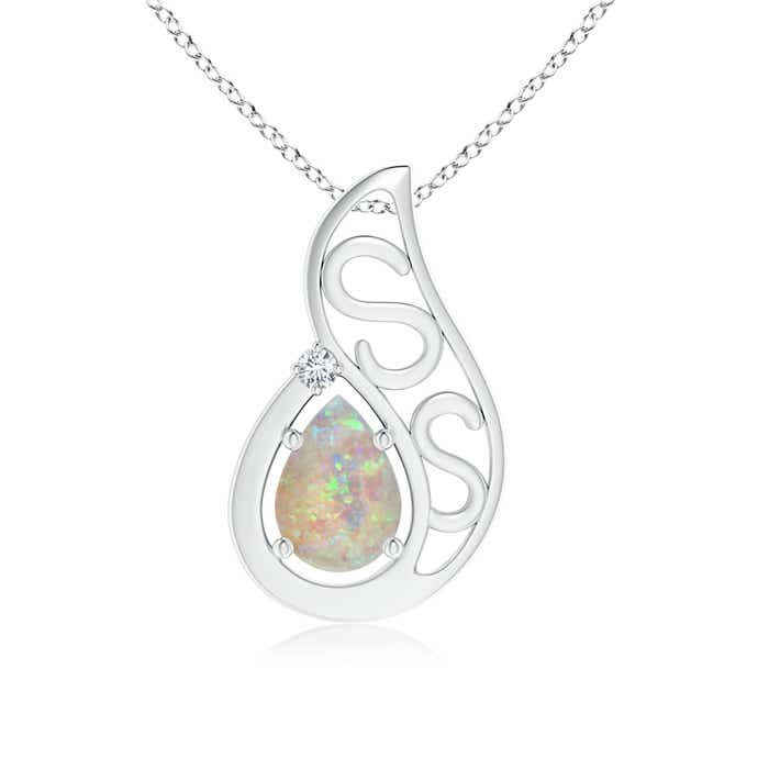 Angara Floating Solitaire Pear Opal Flame Pendant V9IbLquF5