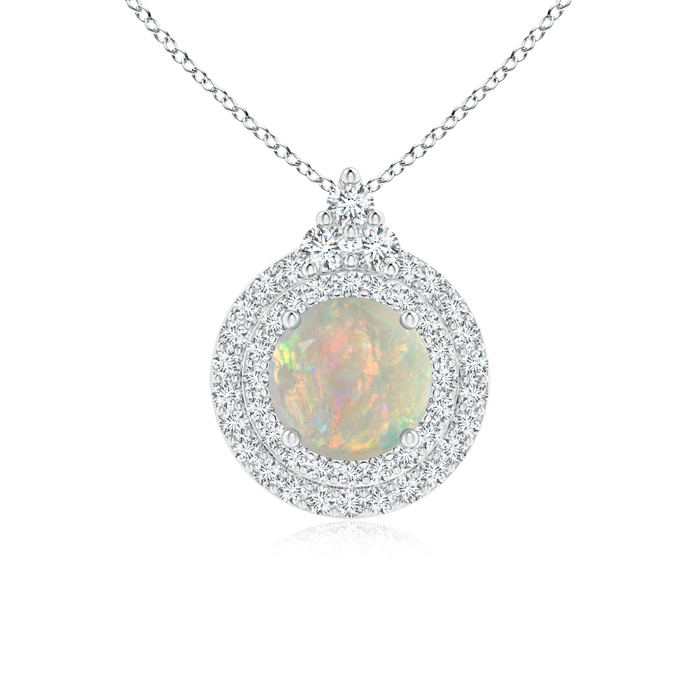 Angara Round Opal and Diamond Double Halo Pendant KMMKgV