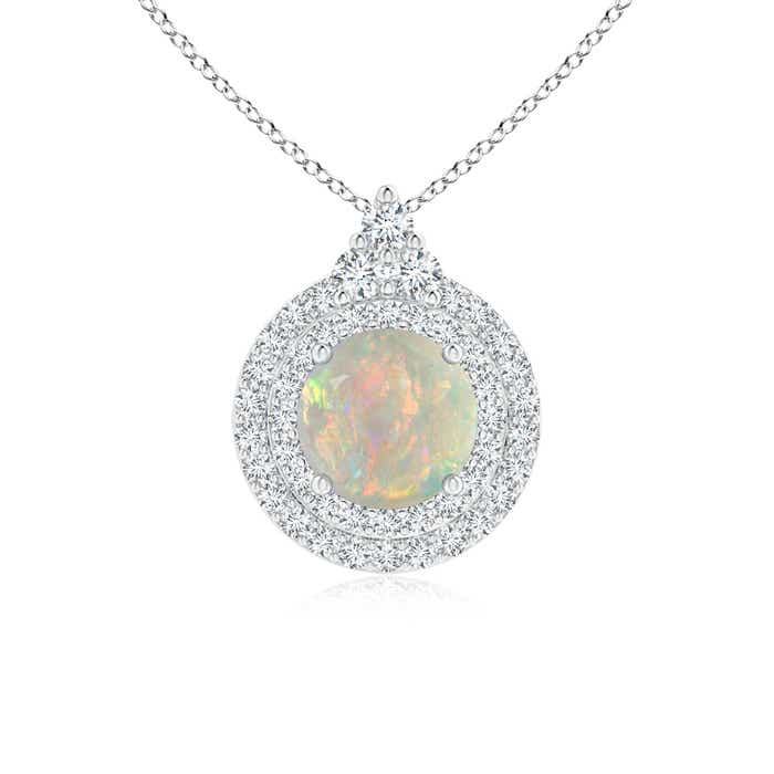 Angara Round Opal and Diamond Halo Pendant with Bezel-Set Emerald z78Vt1g