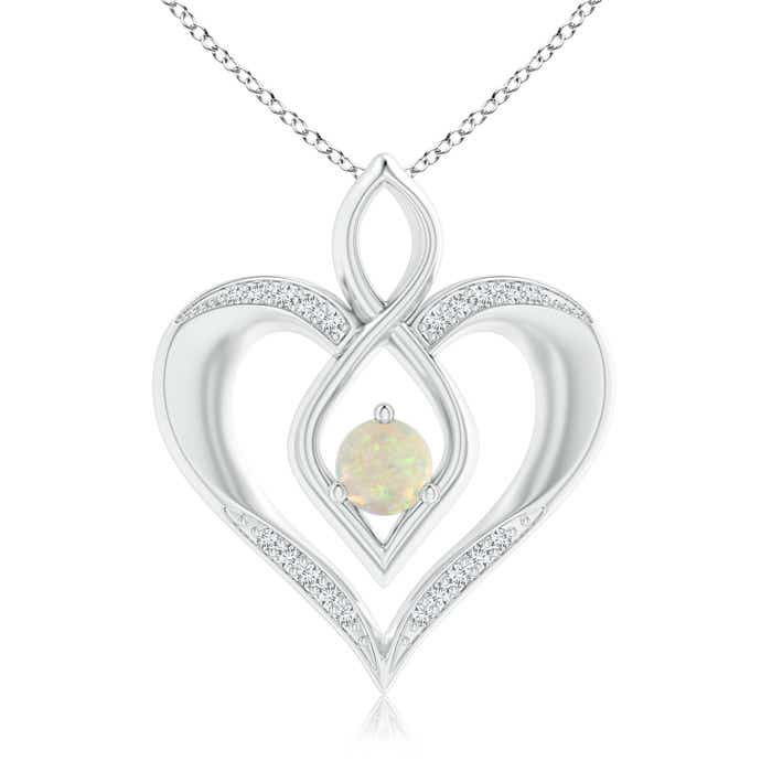 Angara Bypass Round Opal Angel Wing Necklace in White Gold qctvtPpFP