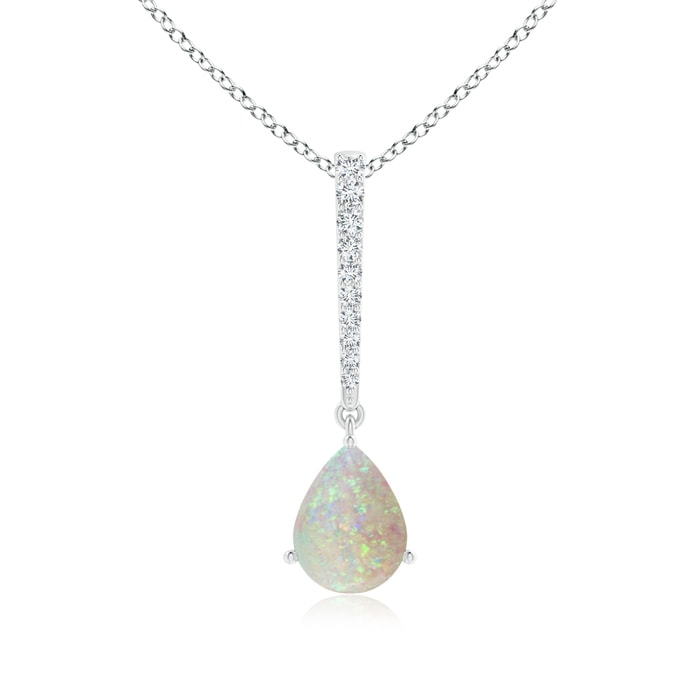 Angara Opal Solitaire Long Drop Pendant with Diamond Studded Bale R91wU