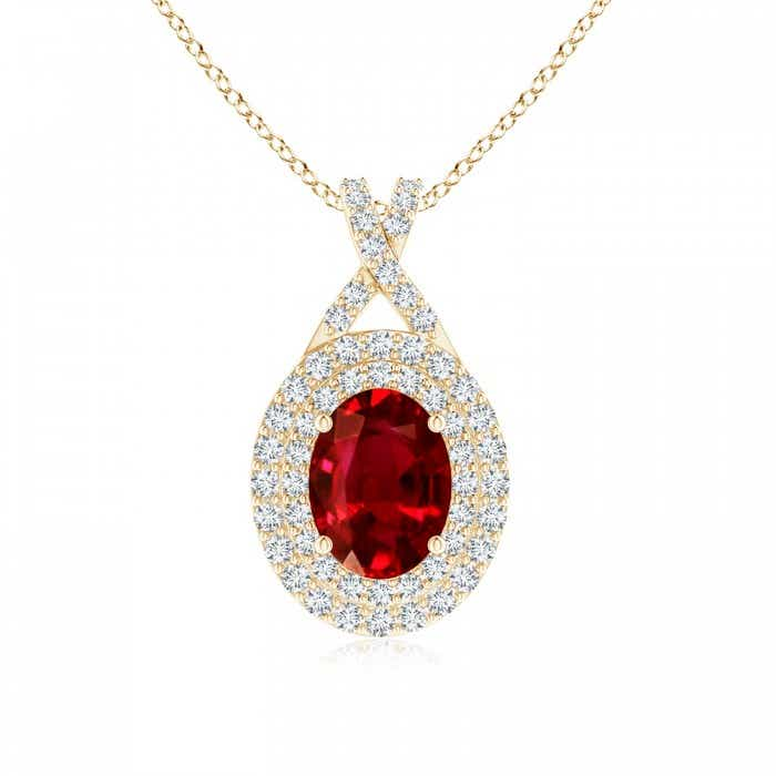 Angara Oval Ruby and Diamond Double Halo Pendant (GIA Certified Ruby) eH2yhZoO