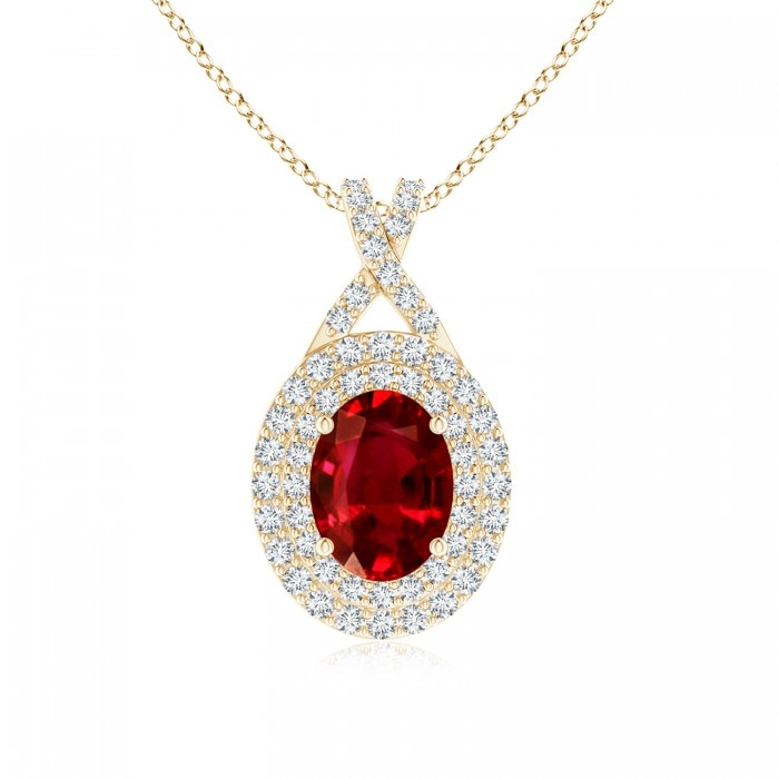 Angara Ruby Pendant - Oval Ruby and Diamond Double Halo Pendant (GIA Certified Ruby)