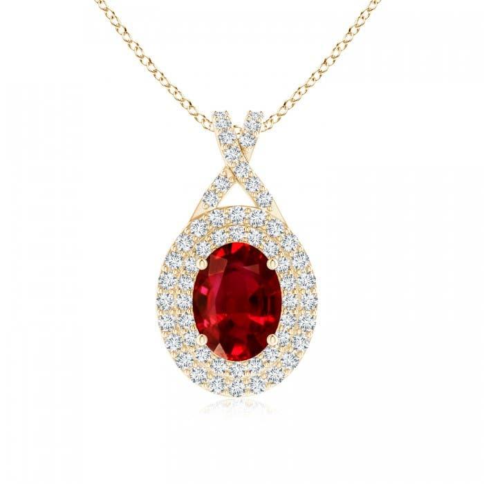 Angara Ruby Pendant - Oval Ruby and Diamond Double Halo Pendant (GIA Certified Ruby) EKHiWhnOA