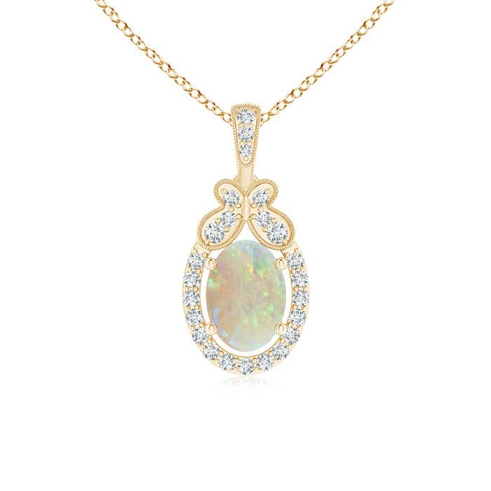Angara Scalloped Frame Oval Opal and Diamond Halo Pendant Xrs3qQG