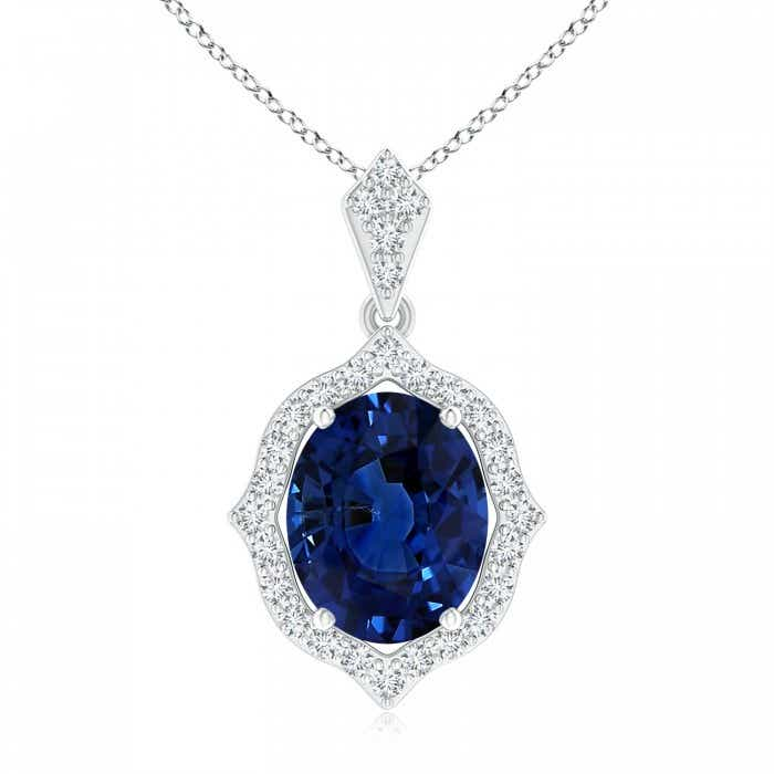Angara Blue Sapphire Pendant - GIA Certified Oval Sapphire Pendant with Double Diamond Halo